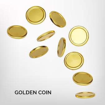 Explosion der realistischen goldmünze auf weißem hintergrund. jackpot- oder casino-poker-gewinnelement. bargeld-schatz-konzept. fallendes oder fliegendes geld. vektor