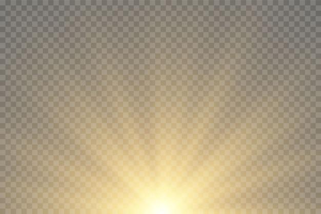 Explosion der sonne leuchtende goldene sterne lokalisiert auf schwarzem hintergrund.