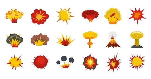 Explosion-icon-set. flacher satz der explosionsvektor-ikonensammlung lokalisiert