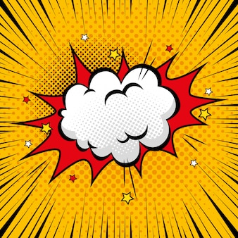 Explosion mit cloud-pop-art-stilen