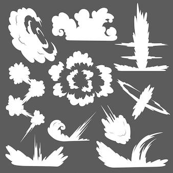 Explosion mit rauchwolke. nebeln sie ebene lokalisiertes clipart für werbungsposter, -effekte und -design ein. cartoon weißer rauch. illustration. isoliert auf grau