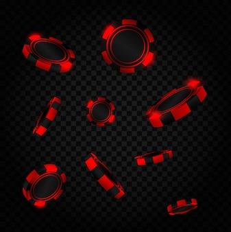 Explosion roter münzen. realistische rote casino poker chips fliegen