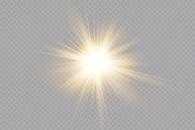 Explosion sonne. stern scheint. glühlichteffekt.