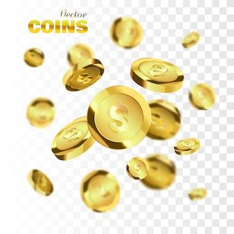 Explosion von goldmünzen