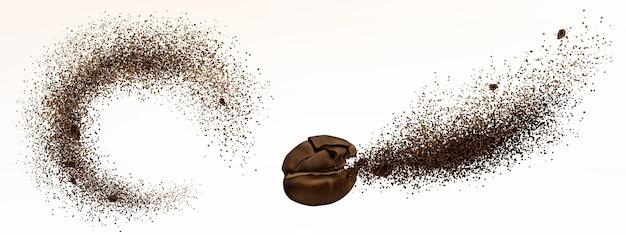 Explosion von kaffeebohne und pulver lokalisiert auf weißem hintergrund. realistische illustration von zerkleinertem geröstetem gemahlenem kaffee und ausbruch von arabica-getreide mit einem spritzer braunen staubes