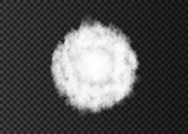 Explosion weißer rauchkreis spiralnebelspur isoliert auf transparentem hintergrund