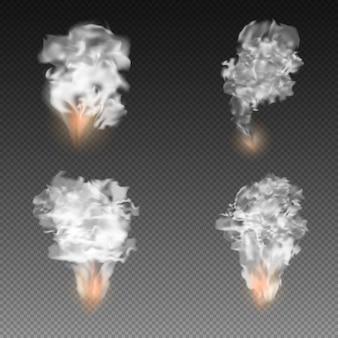 Explosionen mit rauch auf transparent