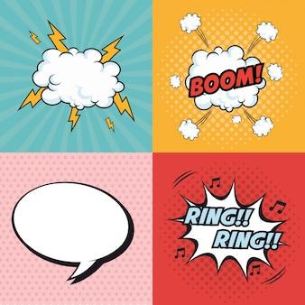Explosionen pop-art comic-design