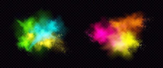 Explosionen von farbpulver, farbstaub mit partikeln.