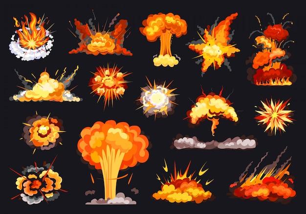 Explosions-cartoon-set-symbol. illustration explodierte auf weißem hintergrund. isolierte karikatursatz-symbolexplosion.