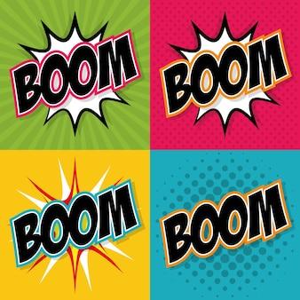 Explosions- und popkunstkonzept dargestellt durch boomikone