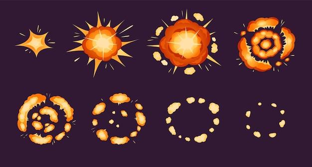 Explosionsanimation explosionseffekt der karikaturbombe mit rauch und partikeln feuerstoß-comic