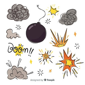 Explosionseffekt sammlung cartoon-design