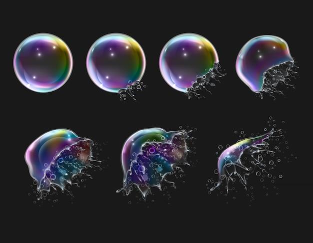Explosionsstadien von realistischen glänzenden runden regenbogenseifenblasen auf schwarz isoliert