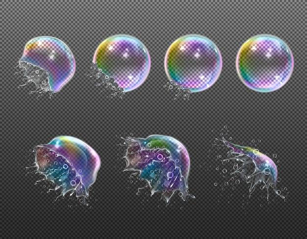 Explosionsstufen von realistischen runden seifenblasen
