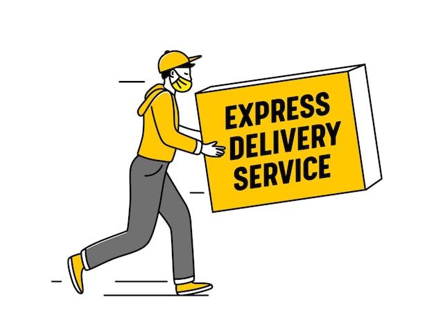 Express delivery service logo mit kurier in maske tragen box, isolated on white background. pakettransport, logo des logistikunternehmens, fracht- oder warenversand, post. vektorillustration