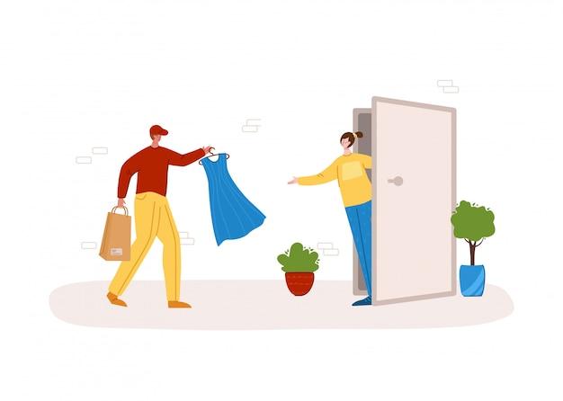 Express-konzept für die zustellung von kleidung - schnelle zustellung oder versand von paketen nach hause bis zur haustür
