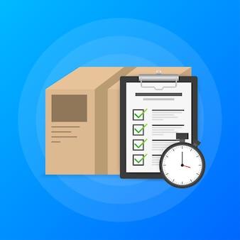 Express-lieferservice-logo. schnelle lieferung paket mit stoppuhr auf blauem hintergrund. aufgabenliste.