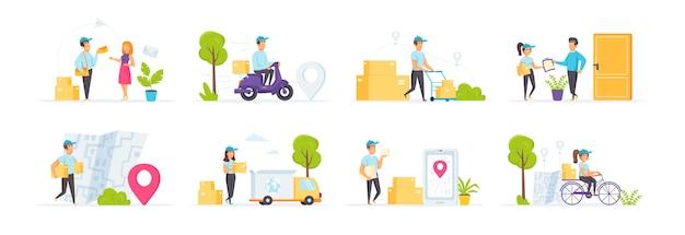 Express-lieferservice mit personencharakteren in verschiedenen szenen und situationen.