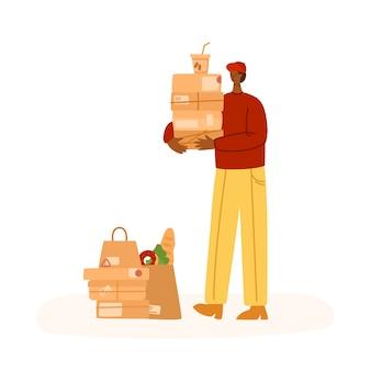 Express-lieferservice - sichere lieferung von produkten, mahlzeiten für die ganze woche oder paketen nach hause, lustiger mann oder kurier in uniform