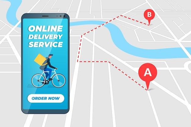Express-lieferung auf fahrradtransport-business-service-banner-konzept kundenverfolgungsauftrag