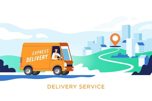 Express-lieferwagen mit mann trägt pakete auf punkten. konzept online-karte, tracking, service.