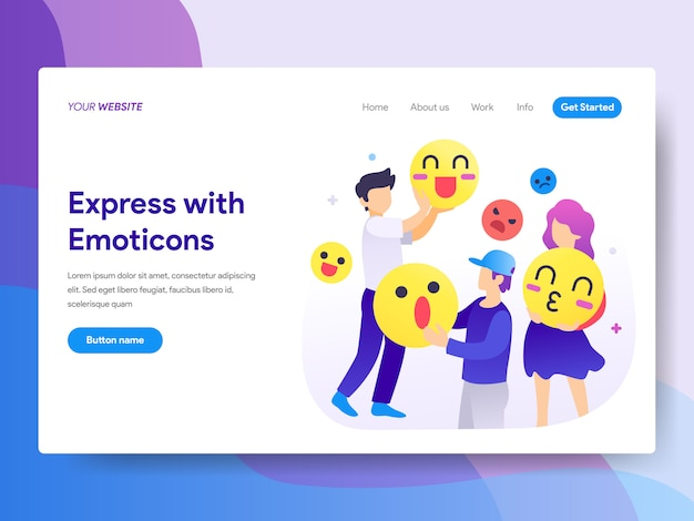 Express mit emoticons illustration auf der homepage