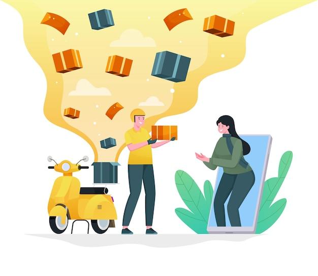 Express scooter lieferaufträge an kunden ein flaches illustrationskonzept