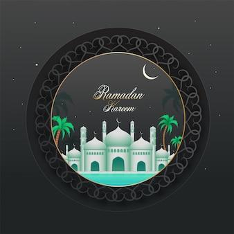 Exquisite ansicht einer moschee in der halbmondnacht und palmen auf grauem blumenrahmen für islamischen heiligen monat des ramadan kareem-konzepts.