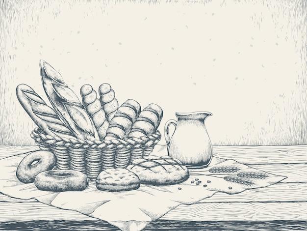 Exquisite bäckerei hintergrund im hand gezeichneten stil