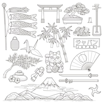 Exquisite japan reiseelementsammlung