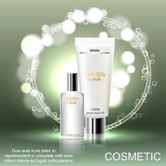 Exquisite kosmetische anzeigenvorlage, leeres modell mit funkelndem bokeh-hintergrund.