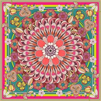 Exquisites mandala-hintergrunddesign mit floralen elementen