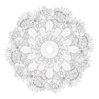 Exquisites mandala-musterdesign in schwarzweiss