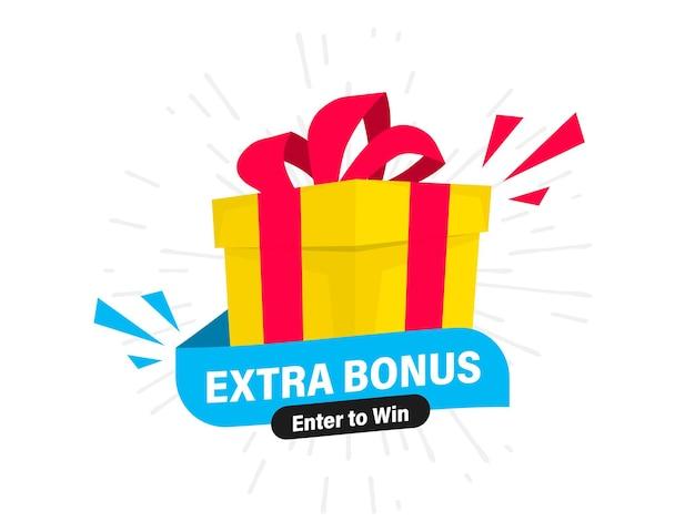 Extra bonus-label für promo-design. rabatt, überraschungsbanner. extrabonus, vektorillustration mit einem geschenk. modernes webbanner, element mit überraschungsgeschenkbox für marketing-promotion-design
