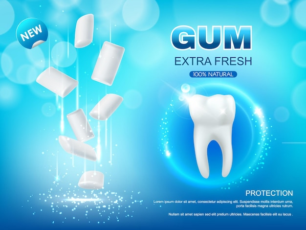 Extra frisches kaugummi-design der zahnhygiene