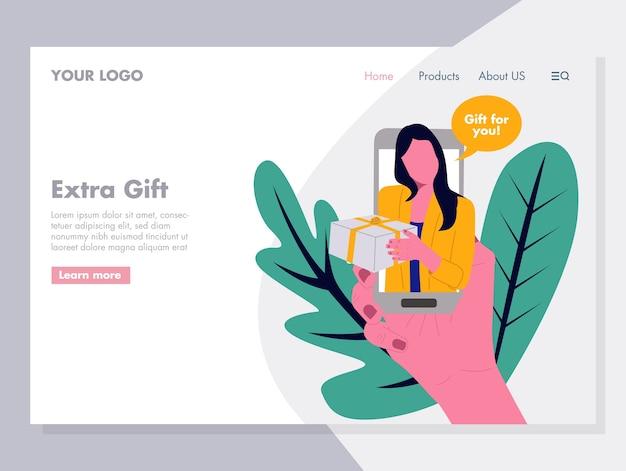 Extra-geschenk-vektor-illustration für die zielseite