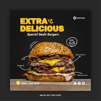 Extra leckeres essen social-media-post-vorlage
