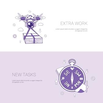 Extraarbeit und neue aufgaben-konzept-schablonen-netz-fahne