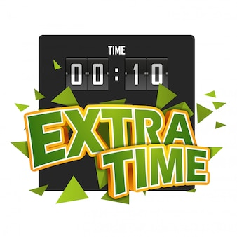 Extratime fußballvektorillustration mit anzeigetafel