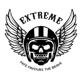 Extrem. geflügelter schädel auf schwarzem hintergrund. gestaltungselement für logo, etikett, emblem, zeichen, plakat.