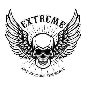 Extrem. geflügelter schädel auf weißem hintergrund. gestaltungselement für logo, etikett, emblem, zeichen, plakat.