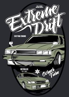 Extreme drift, illustration des klassischen rennwagens
