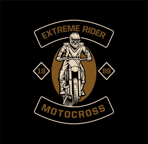 Extreme fahrer-motocross-emblem