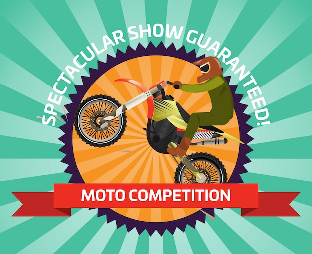 Extreme motocross-ride-banner im flachen design