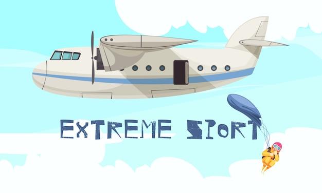 Extremer fallschirmspringensportsprung von der flachen werbung des flugzeuges mit abfliegendem stadium des freien falls des flugzeuges