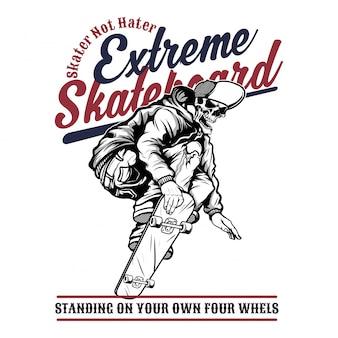 Extremes skateboard des schädels, handzeichnung