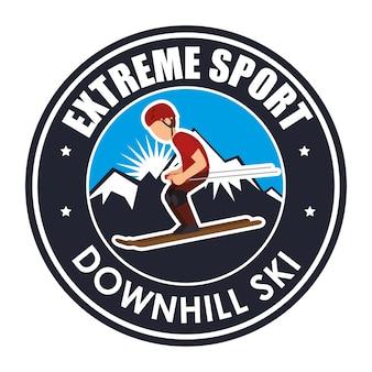 Extremsport-abfahrtski-label