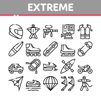 Extremsport-aktivitäts-sammlungs-ikonen eingestellt