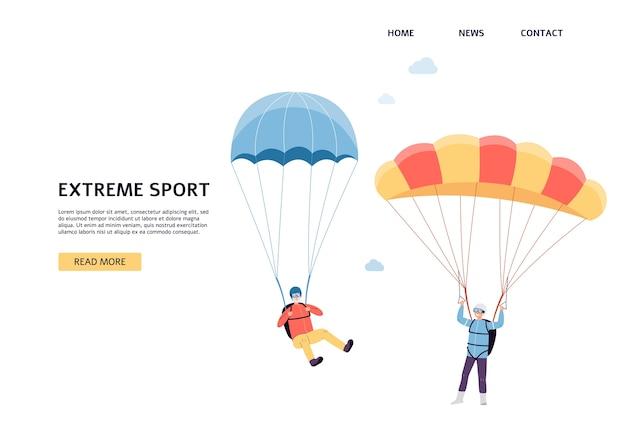 Extremsport - fallschirm und fallschirmspringen für ältere menschen website-banner mit comicfiguren eines älteren aktiven paares, flach.